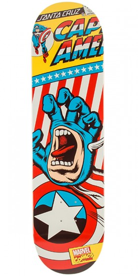 Santa Cruz X Marvel Captain America Hand Skateboard Deck - 8.26""