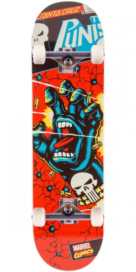 Santa Cruz X Marvel Punisher Hand Skateboard Complete - 8.375