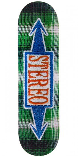 """Stereo Stitched Green Skateboard Deck - 8.5"""""""