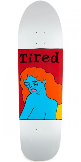 Tired Women's Face on Slick Skateboard Deck - 9.189""