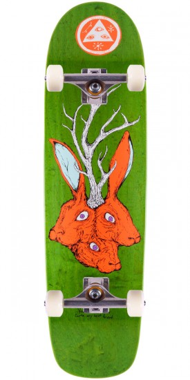 Welcome Bunny Heads on Waxing Moon Skateboard Complete - Green Stain - 8.50""