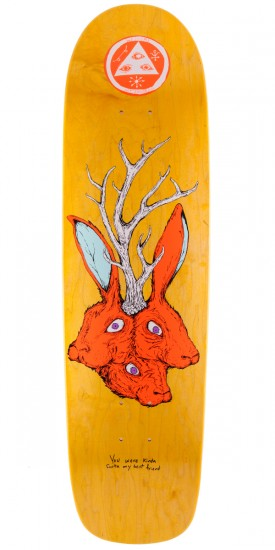 """Welcome Bunny Heads On Waxing Moon Skateboard Deck - Yellow Stain - 8.5"""""""