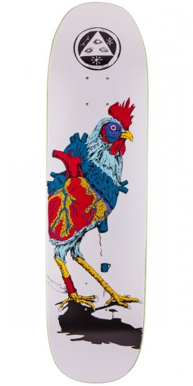 "Welcome Cage-Free Heart On Son of Moontrimmer Skateboard Deck - 8.25"" - White"