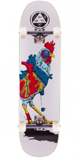 """Welcome Cage-Free Heart On Son of Moontrimmer Skateboard Complete - 8.25"""" - White"""