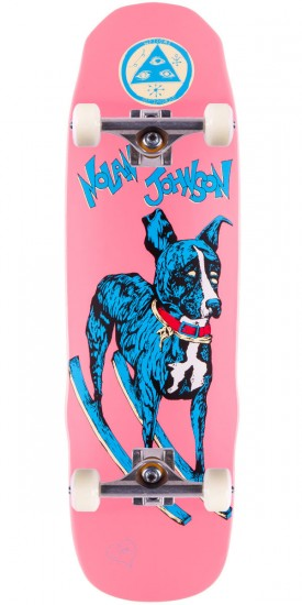 Welcome Nolan Johnson Rocking Dog on Necromancer Skateboard Complete - Pink Dip - 9.125""