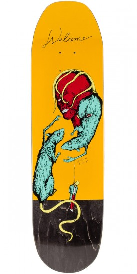 """Welcome Rat Face on Moontrimmer Skateboard Deck - Yellow - 8.5"""""""