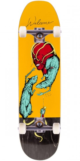 """Welcome Rat Face on Moontrimmer Skateboard Complete - Yellow - 8.5"""""""