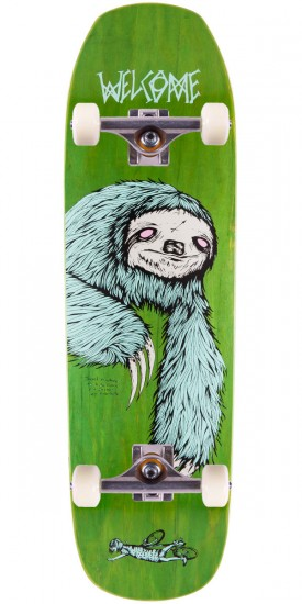 """Welcome Sloth On Banshee 90 Skateboard Complete - Green Stain - 9.0"""""""
