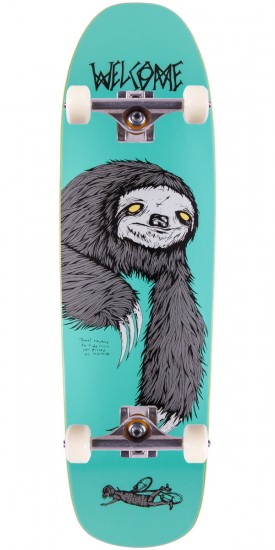 """Welcome Sloth On Magic Mace Skateboard Complete - 9.0"""" - Teal"""