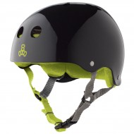 Triple Eight Brainsaver Skateboard Helmet - Black Gloss With Green Liner