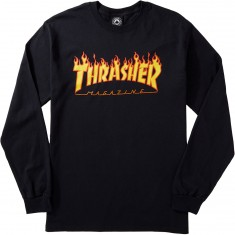 Thrasher Flame Long Sleeve T-Shirt - Black