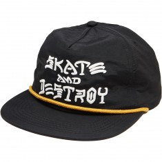 Thrasher Skate & Destroy Puff Ink Snapback Hat - Black