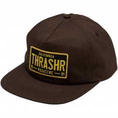 Thrasher DMV Snapback Hat - Brown