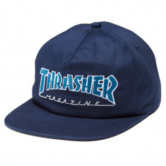 a718e5f75 Thrasher Outlined Snapback Hat - Navy Grey