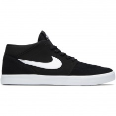 Nike SB Solarsoft Portmore II Mid Shoes - Black/White