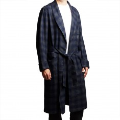 Pendleton Lounge Robe - Navy/Bronze Ombre