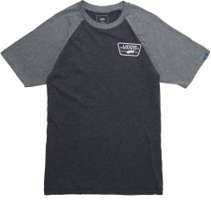 Vans Full Patch Raglan Short Sleeve T-Shirt - Heather Navy/Heather Grey