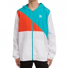 Adidas Courtside Windbreaker Jacket - White/Energy Blue/Energy Red
