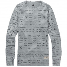 Burton Womens Midweight Base Layer Crew - Grayscale Bogolanfini