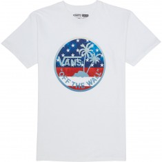 Vans Dual Palm Fill T-Shirt - White/American Flag