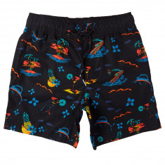 Adidas Island Shorts - Black/Gold/Shock Green/Blue