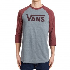 Vans Classic Raglan Shirt - Heather Grey/Burgundy Heather