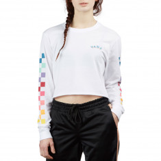 Vans Womens Raincheck Long Sleeve Crop T-Shirt - White dc5f38b51