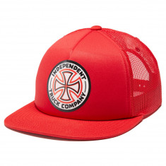 b56ebf44519a2 Independent Red White Cross High Profile Mesh Trucker Hat - Red