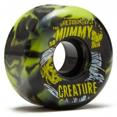 OJ X Creature Return of the Mummy Keyframe Skateboard Wheels - Black/Green Swirls - 58mm 87a