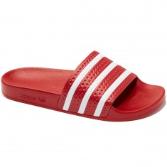 Adidas Adilette Slides - Light Scarlet/White