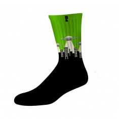 Psockadelic Ufo Socks - Black/Green/Glow