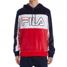 FILA Baggio Velour Hoodie - Navy/Chinese Red/White