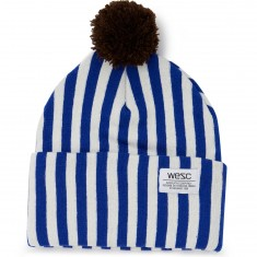 WeSC Puncho Pom Striped Beanie - Greek Blue
