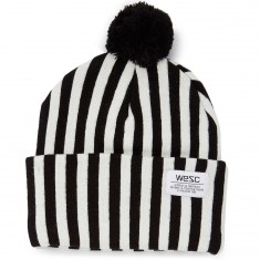 WeSC Puncho Pom Striped Beanie - Black