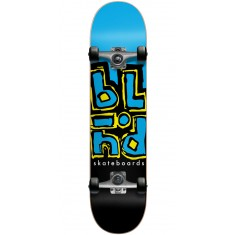 Blind Jumbled Split Youth Skateboard Complete - Cyan/Black - 7.375""