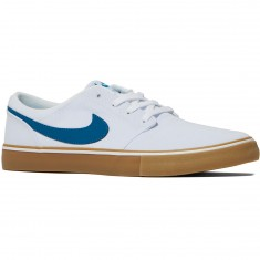 Nike SB Solarsoft Portmore II Canvas Shoes - White/Industrial Blue Gum/Light Brown