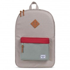Herschel Heritage Backpack - Light Khaki Crosshatch/Shadow/Brick Red/Tan Synthetic Leather