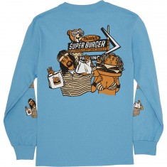 Grizzly Thizzly Burger Long Sleeve T-Shirt - Pacific Blue