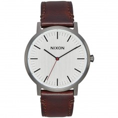 Nixon Porter Leather Watch - Gunmetal/Silver/Dark Brown