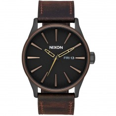 Nixon Sentry Leather Watch - All Black/Brown/Brass