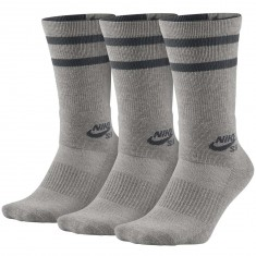 Nike SB Crew 3 Pack Socks - Dark Grey Heather/Grey