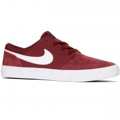 Nike SB Solarsoft Portmore II Shoes - Dark Team Red/White/Black