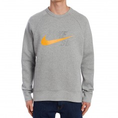Nike SB Icon GFX Sweatshirt - Dark Grey Heather/Circuit Orange