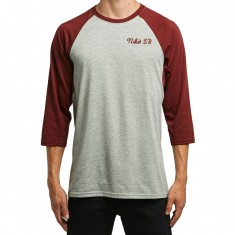 Nike SB GFX 3/4 Sleeve T-Shirt - Dark Grey Heather/Team Red