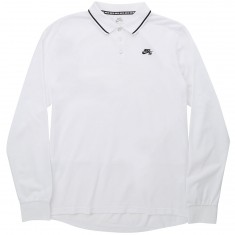Nike SB Pique Long Sleeve Polo Shirt - White/Black