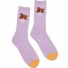 Huf Butterfly Cute Crew Socks - Purple