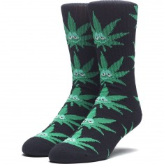 Huf Green Buddy Crew Socks - Black