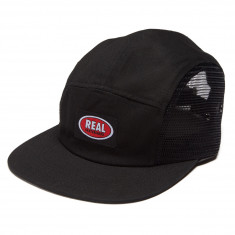 Real Oval Clipback Camp Hat - Black