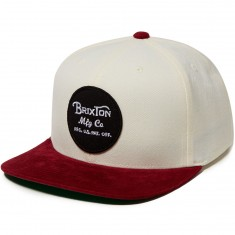 Brixton Wheeler Hat - White/Burgundy