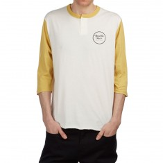 Brixton Wheeler 3/4 Sleeve Henley Shirt - Off White/Modela